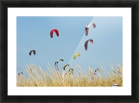 Kites Of Kite Surfers In Front Of Hotel Dos Mares; Tarifa, Cadiz, Andalusia, Spain Picture Frame print