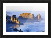 Morning Light Adds Beauty To Fog Covered Rock Formations At Bandon State Park; Bandon, Oregon, United States of America Picture Frame print