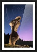 Light painting on monolith and star trails, Anse des Bonnes Femmes at Ile Niapiskau, Mingan Archipelago National Park Reserve of Canada, Cote-Nord, Duplessis region; Quebec, Canada Picture Frame print