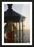 The sun sets at Cape Meares Lighthouse; Oregon, United States of America Picture Frame print