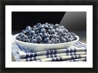 Bowl of blueberries; Quebec, Canada Picture Frame print