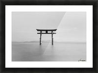 Black and white image of a floating shrine on a lake; Takashiyama, Shiga, Japan Picture Frame print
