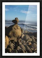 Stones have been balanced on Neahkahnie Beach; Manzanita, Oregon, United States of America Picture Frame print