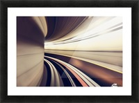 Long exposure while taking underground transportaion giving a time warp feel; Seattle, Washington, United States of America Picture Frame print