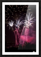 Colourful fireworks at nighttime; Calgary, Alberta, Canada Picture Frame print