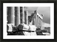 Mono piles of stones before ruined Parthenon; Athens, Attica, Greece Picture Frame print