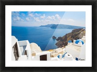 Santorini Island, Greece, Beautiful View of Blue Ocean and Traditional Dome Church Architecture Picture Frame print
