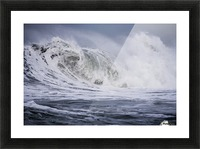 A large wave breaks on a stormy morning; Seaside, Oregon, United States of America Picture Frame print
