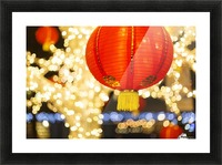 Red and gold Chinese lantern with sparkling white lights in the background, Granville Island; Vancouver, British Columbia, Canada Picture Frame print