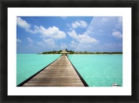 Jetty with cabana over crystal clear turquoise sea, Maldives Picture Frame print