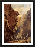 Army passing through the cliffs Picture Frame print