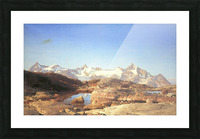 A lake surrounded by mountains Picture Frame print