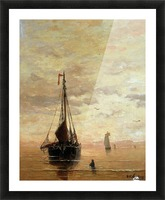Ships On A Calm Sea Near The Coast Sun Picture Frame print