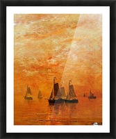 Ships on sunset Picture Frame print