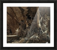 Forest landscape with flowing water and two hunters Picture Frame print