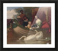 A young family feeding a swan Picture Frame print