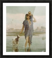 A young mother and a goat Picture Frame print