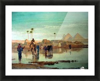 Crossing the river with the camels Picture Frame print