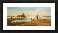 People and camels by the pyramids Picture Frame print