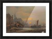 Sunset in a port Picture Frame print