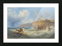 Landscape with a house by the sea Picture Frame print