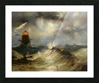 A stormy day on the sea and the lighthouse Picture Frame print