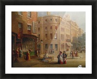 People talking in the street Picture Frame print