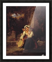 Two girls and a tamburine Picture Frame print