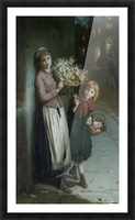 Two girls selling flowers Picture Frame print