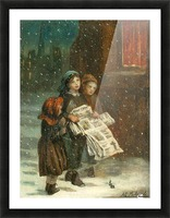 Small children with newspapers Picture Frame print