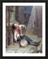A child sleeping in the moonlight Picture Frame print