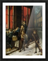 A group of children gazing through the window Picture Frame print