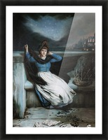 A woman in a blue dress at the edge of a city Picture Frame print