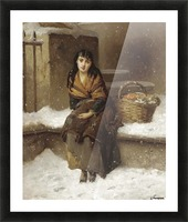 A woman in the snow with a grocery basket Picture Frame print