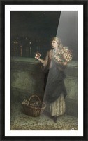 Selling flowers on a bridge in the night time Picture Frame print