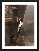 A girl in a black dress Picture Frame print