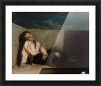A boy sleeping on the London bridge Picture Frame print