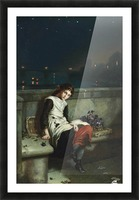 A girl selling purple flowers on a bridge Picture Frame print