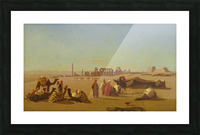 A caravan at rest, the Temple of Karnak, Thebes in the distance Picture Frame print