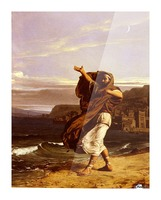 A young man in the wind Picture Frame print