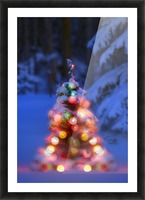Illuminated Christmas Tree In A Forest Picture Frame print