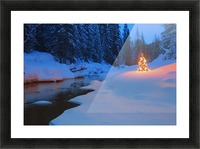 Glowing Christmas Tree By Mountain Stream Picture Frame print