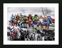 Marvel and DC Superheroes Lunch Atop A Skyscraper Featuring Captain America, Iron Man, Batman, Wolverine, Deadpool, Hulk, Flash & Superman Picture Frame print
