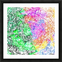 psychedelic splash painting abstract in pink purple green blue orange and yellow Picture Frame print