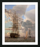 A Russian ship of the Line Asow and a Frigate at Anchor in the Roads of Elsinore Picture Frame print
