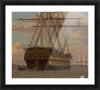 The Russian ship of the line Asow and a frigate at Anchor in the Roads of Elsinore Picture Frame print