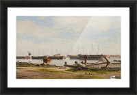 View of the wharf at Nyholm with the crane and some warships Picture Frame print