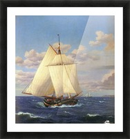 Two boats sailing near the coast Picture Frame print