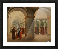 Procession of monks in the cloister of the Basilica San Paolo Fuori le Mura in Rome Picture Frame print