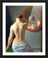 Woman in front of a mirror Picture Frame print